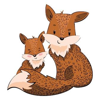 キツネの漫画の家族。キツネの子犬と様式化されたキツネ。線形アート。