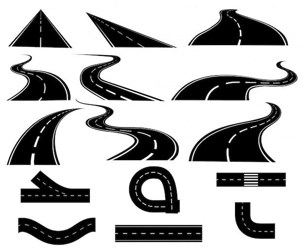 道路のセット。コレクショントラック。黒白い道路図。アウトバーン。