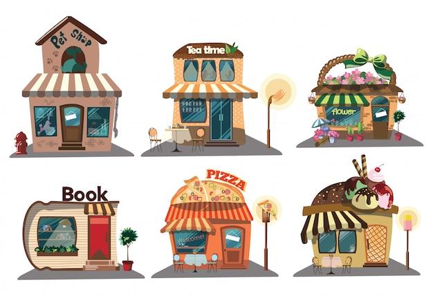 Множество магазинов. коллекция небольших мультфильмов магазинов со знаком. векторная иллюстрация