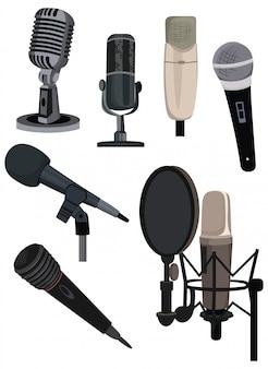 Набор разных микрофонов. коллекция устройств для аудиоподкаста, трансляции или записи музыки.