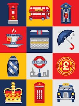 Плоский стиль плакат с лондонскими символами и достопримечательностями.