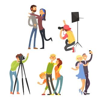 Семейное фото в студии. набор иллюстраций