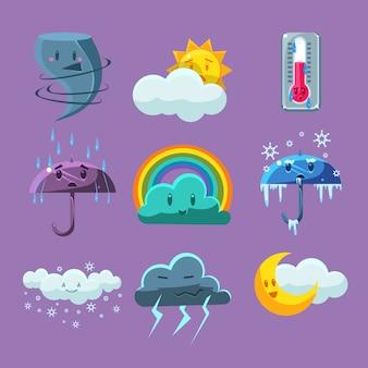 Набор иконок мультфильм погода