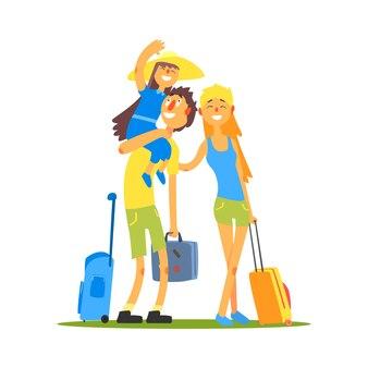 Семья из трех путешественников