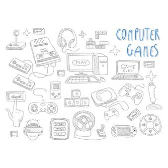 Компьютерные игры набор иконок каракулей