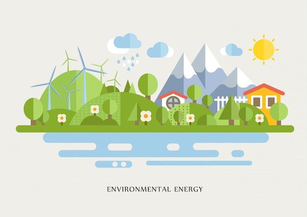 Ветряные турбины в сельской местности выложены иллюстрации
