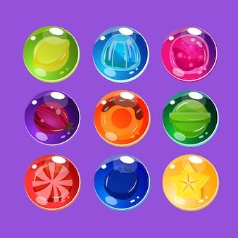 輝きセットと明るくカラフルな光沢のあるキャンディー
