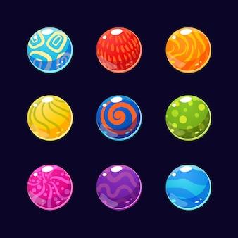 カラフルな光沢のある石とボタンの輝きコレクション