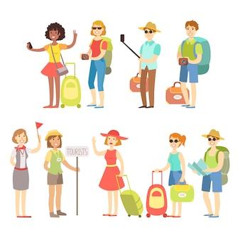 Счастливый турист с сумками и набором камер