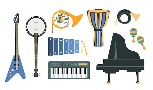 Музыкальные инструменты набор реалистичных рисунков