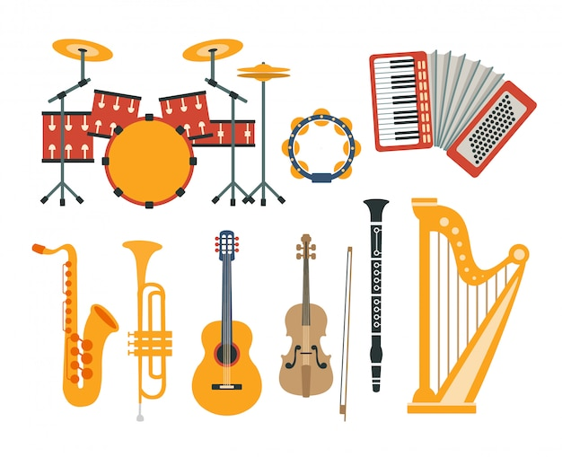 Коллекция реалистичных рисунков музыкальных инструментов