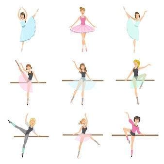 Набор репетирующих танцоров в разных позах