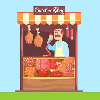 肉の品揃えで市場カウンターの後ろに肉屋