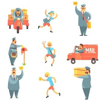 郵便配達員と配達人の作業プロセスセット