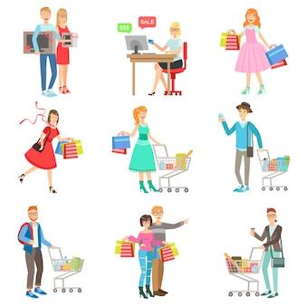 Люди, делающие покупки для одежды и бакалеи