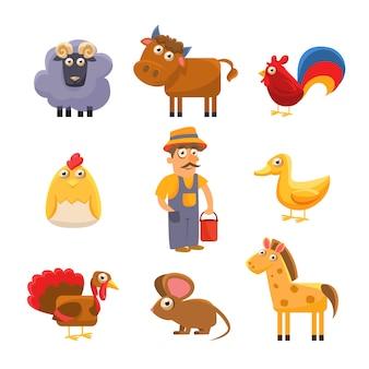 Коллекция сельскохозяйственных животных. набор красочных иллюстраций