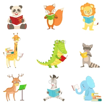 Набор символов чтения милых животных символов