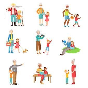 Бабушка и дедушка и дети проводят время вместе набор иллюстраций