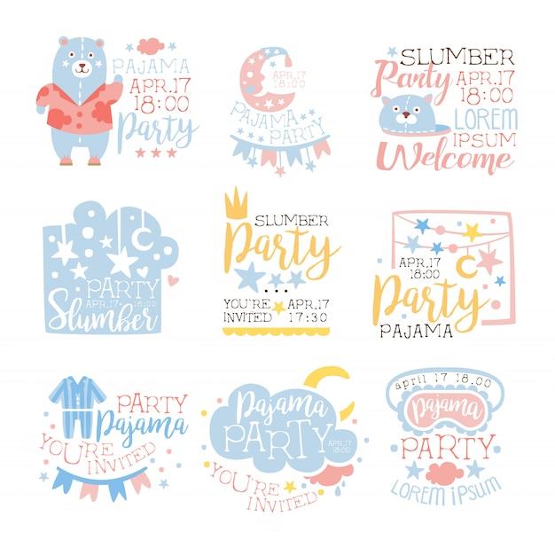 青とピンクの乙女チックなパジャマパーティーの招待状テンプレートセット子供たちを眠るパジャマ一晩外泊カードに招待