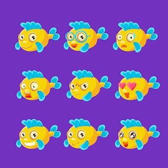 さまざまな表情と感情のかわいい黄色の水族館の魚の漫画のキャラクターセット