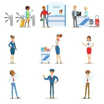 フライトの登録とパスポートコントロールを通過する空港内部の人々、および航空サービスのプロパイロットと客室乗務員