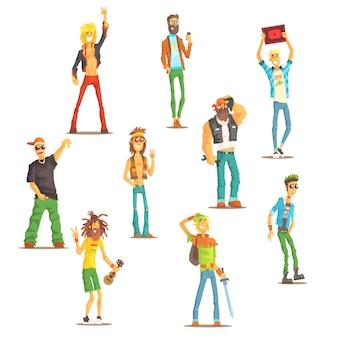 文化グループの属性を持つ認識可能な漫画のキャラクターの異なるサブカルチャーセットに属する人々