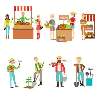 農場野菜市場と人々の農業セット