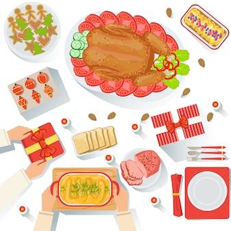 Пара с традиционно подаваемой рождественской едой с видом сверху