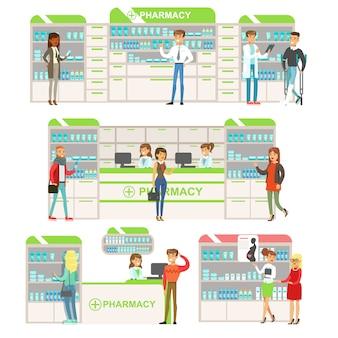 Улыбающиеся люди в аптеке выбор и покупка лекарств и косметики коллекция аптечных сцен с фармацевтами и клиентами