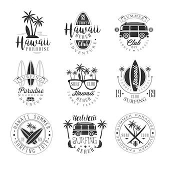 Гавайский пляж серфинг отпуск черно-белый знак дизайн шаблоны с текстом и инструментами силуэты
