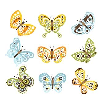 創造的な昆虫の図面の翼セットにファンキーなデザインパターンが付いた幻想的な熱帯の蝶