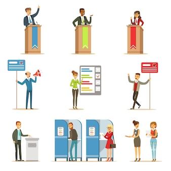 Политические кандидаты и процесс голосования набор тематических иллюстраций о демократических выборах