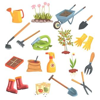 ガーデニングと農業の孤立したイラストに必要なオブジェクトの庭師機器セット