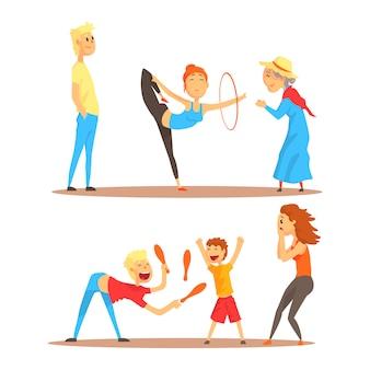 Цирковые артисты красочный мультфильм подробные векторные иллюстрации, изолированные на белом