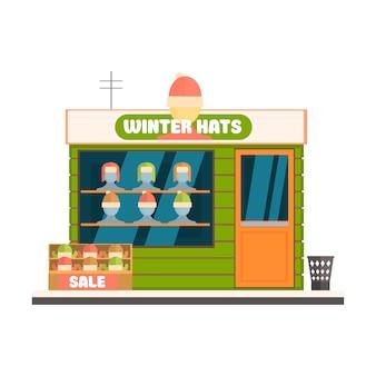 冬の帽子ストアフロント