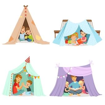 テントテントで遊ぶかわいい子供たち。漫画の詳細なカラフルなイラスト