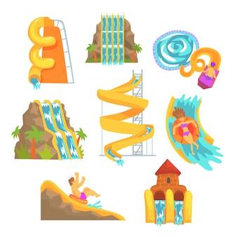 カラフルなウォータースライドとチューブ、アクアパーク機器がセットされています。漫画の詳細なイラスト
