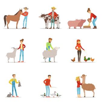 家畜を飼育する農家。農場の職業労働者の人々、家畜。カラフルな漫画の詳細なイラストのセット