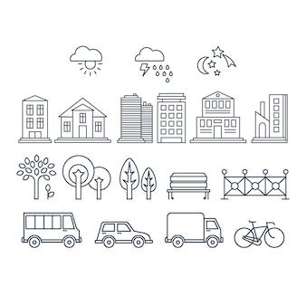 交通機関と都市のアイコン