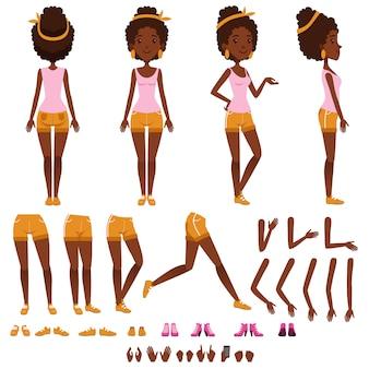 アフロアメリカンの若い女性のキャラクター作成セット、さまざまなビューを持つ女の子、ヘアスタイル、靴、ポーズとジェスチャー、漫画イラスト