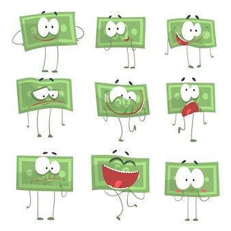 Симпатичные смешные гуманизированные банкноты, показывающие различные эмоции набор красочных персонажей иллюстрации