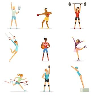 Спортивные люди занимаются различными видами спорта, люди в тренажерном зале, спортивные снаряды красочные иллюстрации