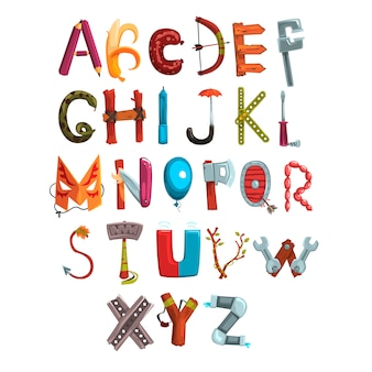 Коллекция писем из различных предметов, продуктов питания и инструментов. творческий подробный шрифт. детское развитие и воспитание. плоский дизайн для книги, плаката или открытки