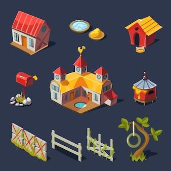 Ферма большой набор элементов дизайна в современном стиле, плоский.