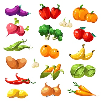 果物と野菜。有機食品のアイコン