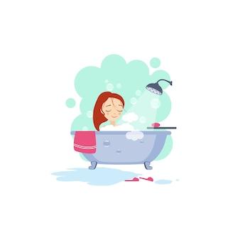 女性の入浴。