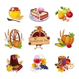 感謝祭の装飾的な要素セット