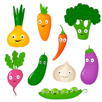 Смешные различные мультфильм овощи иллюстрация набор