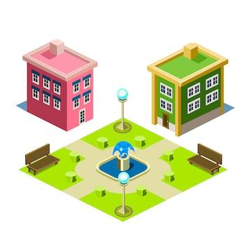 家と公園の建物の図