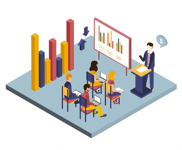 Презентация или встреча изометрические иллюстрация